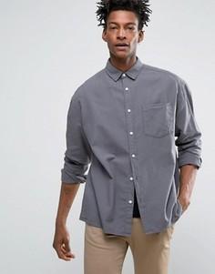 Серая оксфордская oversize-рубашка с выбеленным эффектом ASOS - Серый