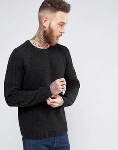 Джемпер с добавлением шерсти и узором косичка на рукавах ASOS - Черный