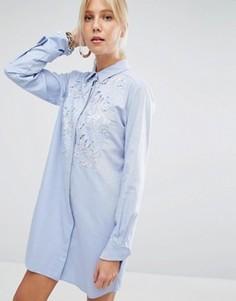 Платье-рубашка с кружевной вставкой Sportmax Code - Синий