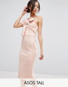 Платье миди на одно плечо с бантом ASOS TALL - Розовый