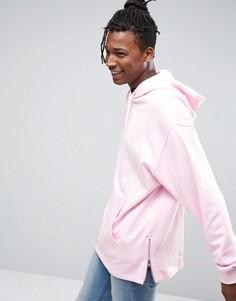 Розовый длинный oversize-худи с молниями по бокам ASOS - Розовый