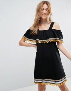 Сарафан с открытыми плечами, вышивкой и помпонами ASOS - Черный