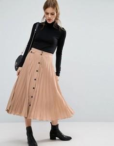 Плиссированная юбка миди на пуговицах ASOS - Коричневый