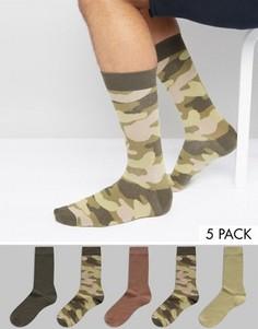 5 пар носков с камуфляжным принтом Urban Eccentric - Мульти