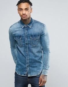 Узкая джинсовая рубашка стретч цвета индиго Pepe Jepson - Синий