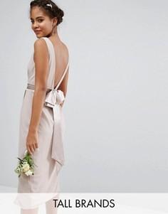 Платье миди с запахом и бантом сзади TFNC Tall Wedding - Розовый
