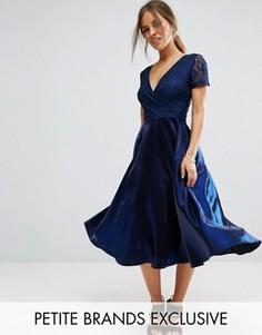 Платье миди для выпускного с кружевным лифом True Decadence Petite - Темно-синий