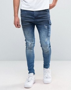 Синие джинсы карго SikSilk - Синий