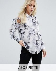 Блузка с мраморным принтом и завязками на плечах ASOS PETITE - Мульти