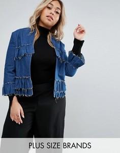 Джинсовая куртка с оборками Helene Berman Plus - Синий
