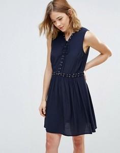 Платье из шамбре со шнуровкой First & I - Синий