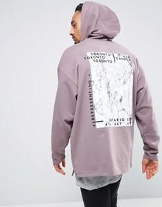 Удлиненное oversize‑худи с мраморным принтом ASOS - Фиолетовый