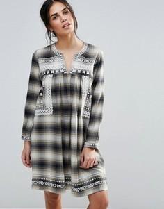 Клетчатое платье с вышивкой на кокетке d.RA Shia - Коричневый