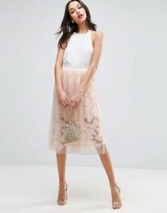 Кружевная юбка для выпускного с верхним слоем из тюля ASOS - Розовый
