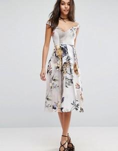 Платье миди для выпускного с цветами и открытыми плечами ASOS - Мульти