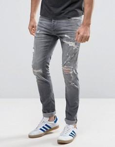 Узкие джинсы с рваной отделкой Jack & Jones Intelligence - Серый