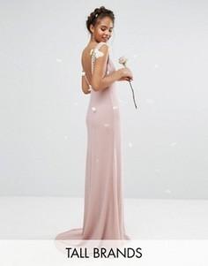 Платье макси с открытой спиной и отделкой TFNC Tall Wedding - Розовый