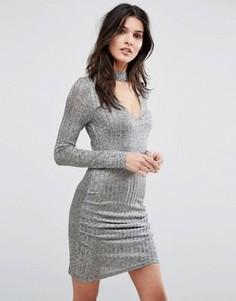 Облегающее платье с длинными рукавами и горловиной-чокером Parisian - Серый