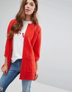 Вязаный прямой кардиган Selected - Красный