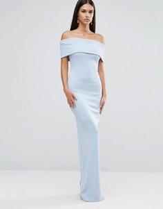 Платье макси бандо с разрезом City Goddess - Синий