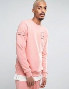 Розовый свитшот с нашивками в стиле милитари Dxpe Chef - Розовый