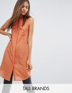 Платье-рубашка с карманами в стиле милитари Vero Moda Tall - Коричневый