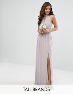 Платье макси с отделкой TFNC Tall Wedding - Серый