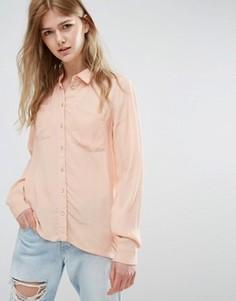 Прямая рубашка Vila - Коричневый