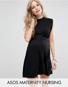 Платье мини с высоким воротом ASOS Maternity Nursing - Черный