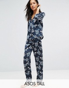Атласная пижама с рубашкой и штанами с принтом драконов ASOS TALL - Мульти