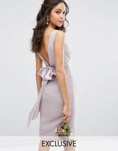 Платье миди с запахом и бантом сзади TFNC WEDDING - Серый
