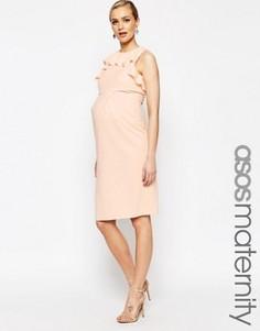 Платье-футляр с оборками ASOS Maternity - Бежевый