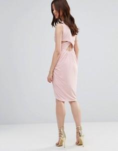 Платье с драпировкой и перекрестными планками сзади Wal G - Розовый
