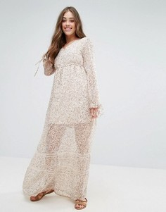 Платье макси с цветочным принтом Vero Moda Fabs - Кремовый