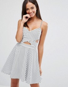 Короткое приталенное платье в полоску с вырезами Wyldr In Love - Мульти