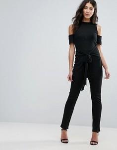 Комбинезон с широкими штанинами и открытыми плечами Unique 21 - Черный