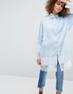 Длинная рубашка с кружевным низом STYLENANDA - Синий