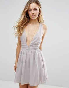 Короткое приталенное платье Glamorous - Серый