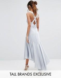 Платье миди с перекрестной спинкой и складками внизу Jarlo Tall - Синий