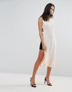 Платье-накидка контрастной расцветки Love - Бежевый