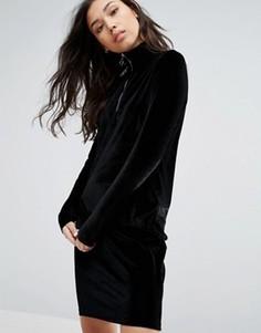Бархатное платье с молнией Minimum - Черный