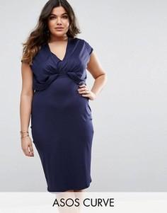 Платье-футболка миди из крепа ASOS CURVE - Синий