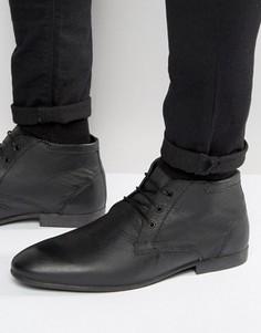 Черные кожаные ботинки чукка ASOS - Черный