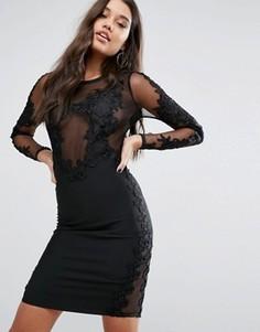 Платье миди с кружевной отделкой WOW Couture - Черный