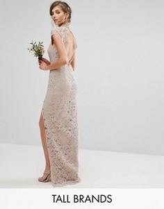 Кружевное платье с высокой горловиной и коротким рукавом TFNC Tall Wedding - Розовый