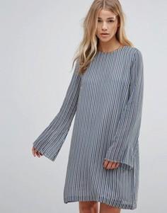 Полосатое платье из ткани жоржет Ganni Allen Verona - Синий