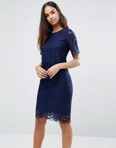 Платье миди с накладкой из фигурного кружева Club L - Темно-синий