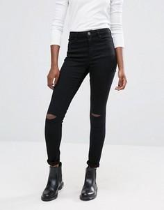 Черные джинсы скинни со смещенными рваными коленями ASOS Ridley - Черный