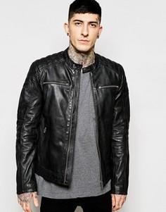 Черная кожаная байкерская куртка Goosecraft - Черный