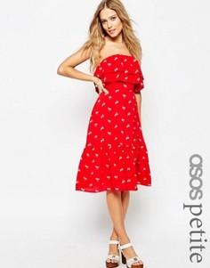 Платье-бандо с оборкой и принтом ASOS PETITE - Красный